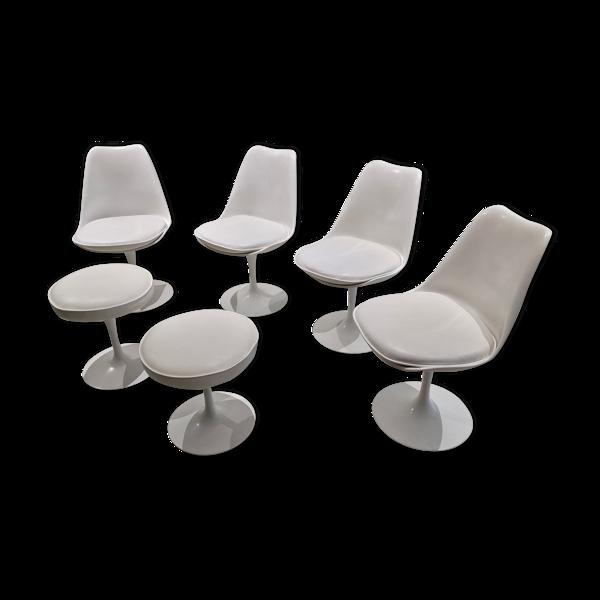 Selency Lot de 4 chaises et 2 tabourets tulipe de Eero Saarinen pour Knoll