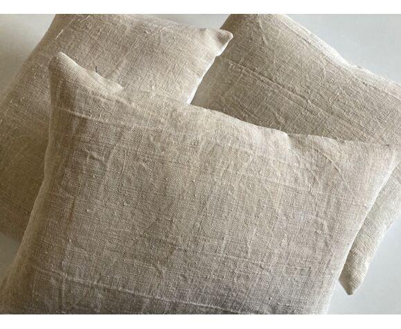 Farm hemp cushion 19th back of old linen 40cm x 30cm