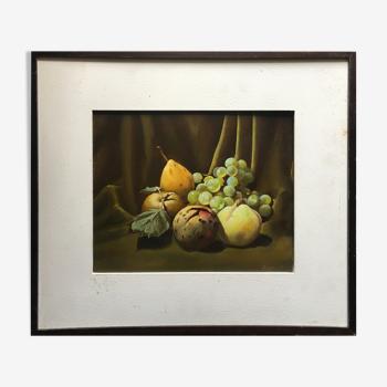 """Tableau HSP """"Nature morte aux fruits tavelés"""" signé Rolin 1980"""