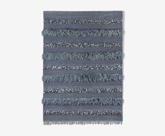 Handira berbère gris en laine et coton  185 x 140