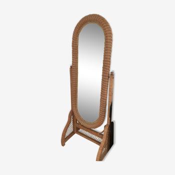 Rattan and wicker mirror