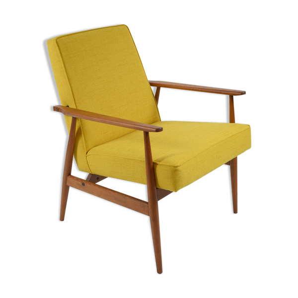 Selency Fauteuil clube vintage «Fox» Usine de meubles Bystrzycka, entièrement rénové, années 70, couleur jaune