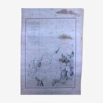 Reproduction vieille carte marine des Ehbiens Bretagne du nord