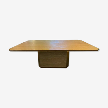 Vintage dining table in travertine and golden brass