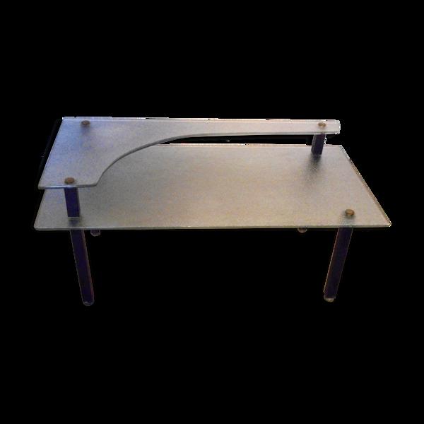Table basse en verre granité des années 50
