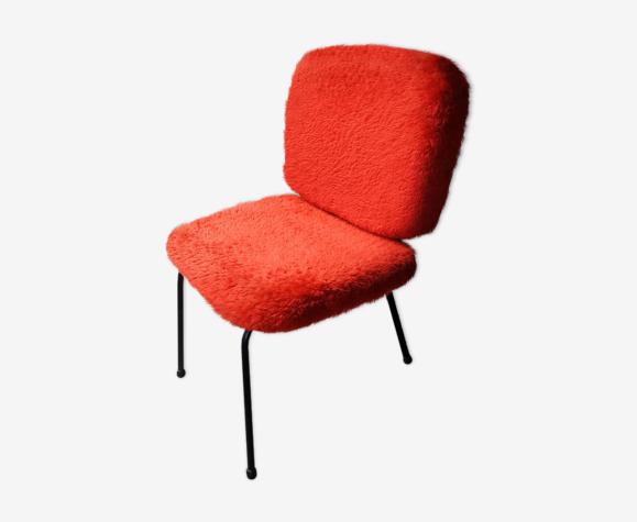 """Chaise vintage """"moumoute"""" rouge"""