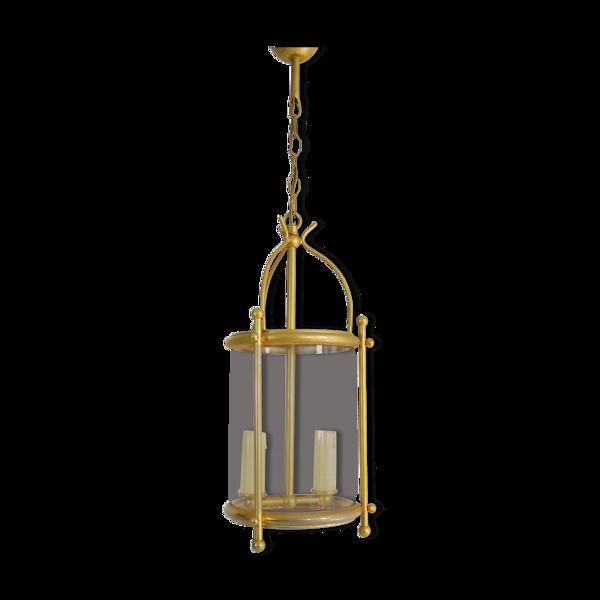 Ancienne suspension lanterne en laiton et verre de style Louis XVI à 2 feux. Année 60