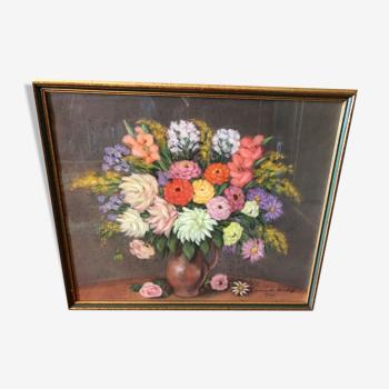 Tableau de Jeannette Bischof bouquet dans un pichet daté 1946