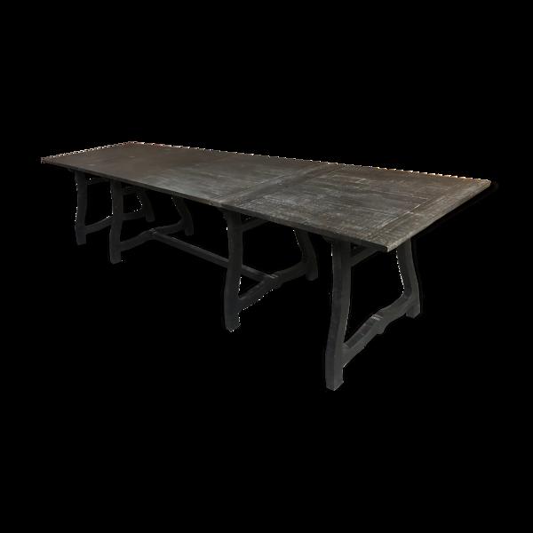 Table en bois noirci système allonges rabbatables sur plateau, pieds coulissants