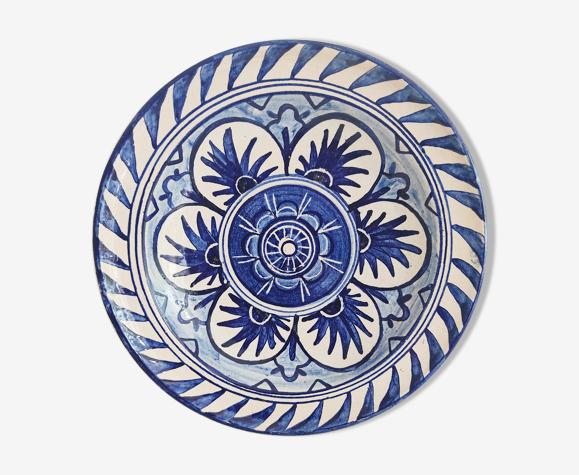 Assiette décorative décor bleu et blanc