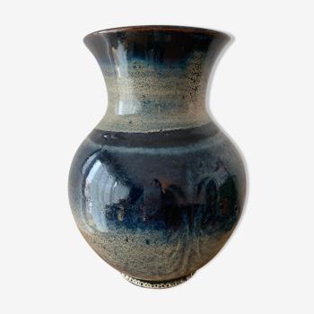 Vase céramique émaille bleu foncé