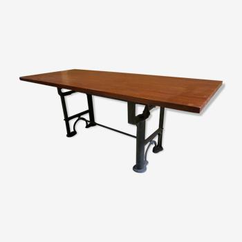 Table à manger en acajou massif avec base industrielle antique de 1900