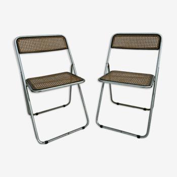 Paire de chaises pliantes métal canné 1970