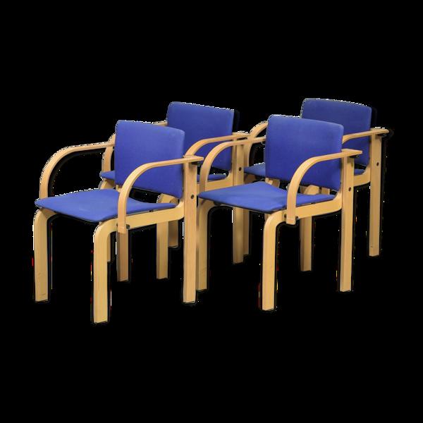 Ensemble de quatre chaises danoises stackable beech par Friis et Moltke
