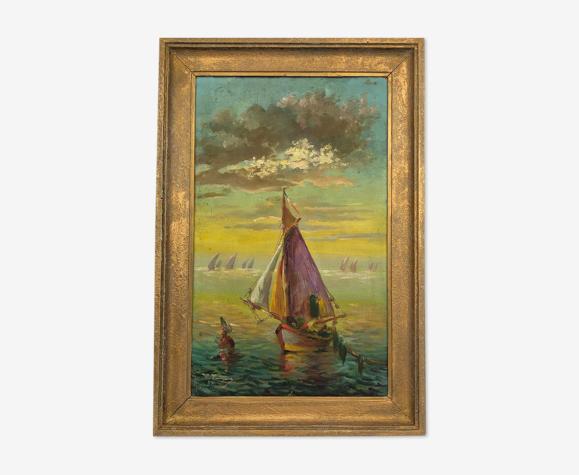 """Huile sur toile vintage signée """"Voilier au coucher de soleil"""", XXème"""