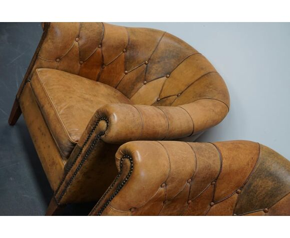Paire de fauteuils club vintage en cuir Pays-Bas