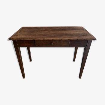 Table de ferme vintage bureau des années 50 en chène.
