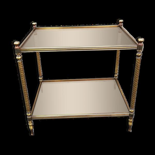 Table d'appoint vintage laiton et 2 plateaux verre fumé