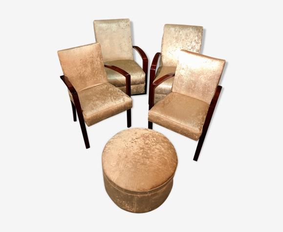Salon 4 fauteuils et un repose-pied, circa 1940