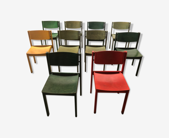 Série 10 chaises colorées design des années 80