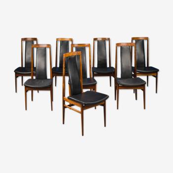 8 chaises danoises en cuir et bois de rose, années 1960