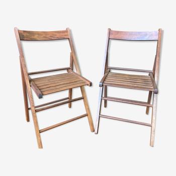 Paire de chaises terrasse pliable bois vintage
