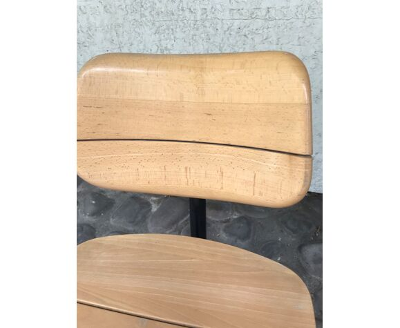 Chaise de bureau Martin Stoll bois claire sur roulettes