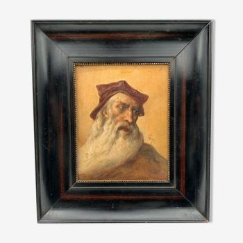 Portrait homme a la barbe renaissance cadre bois