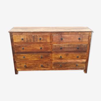 Commode en bois ancien avec 8 tiroirs