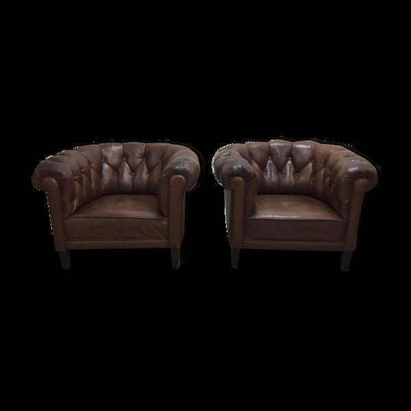 Paire de fauteuils cuir