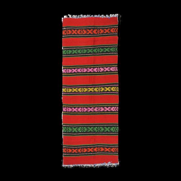 Tapis laine rouge avec des rayures dans des couleurs lumineuses Roumanie 220x80cm
