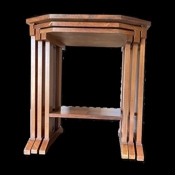 Selency Suite de 3 tables gigognes en acajou 1930