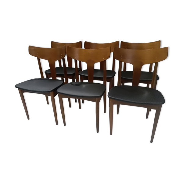 Suite de 6 chaises scandinave teck Samcom Danemark 1960