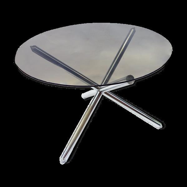 Selency Table de salle à manger en verre fumé diamètre 110 cm
