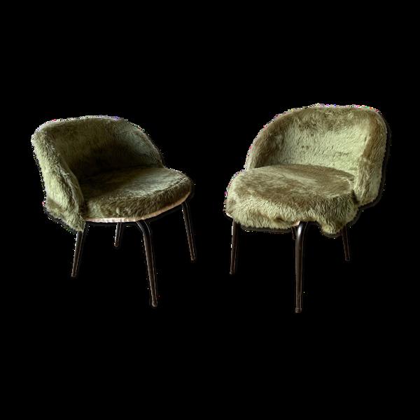Paire de chaises moumoute