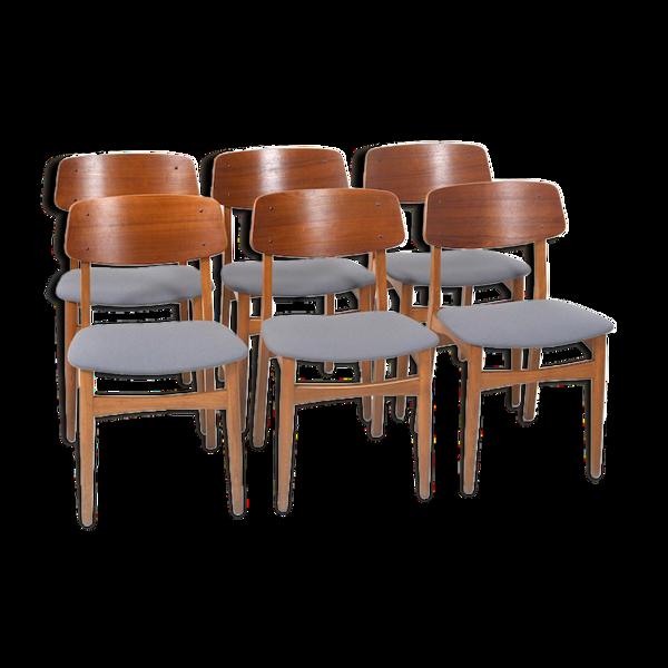 Ensemble de six chaises danoises en teck et chêne