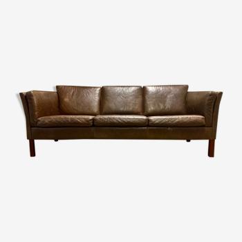 Brown leather sofa Scandinavian design