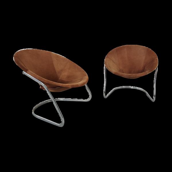 Paire de fauteuils circle de Lusch & co années 60/70