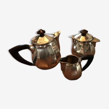 Service à thé art déco en métal argenté