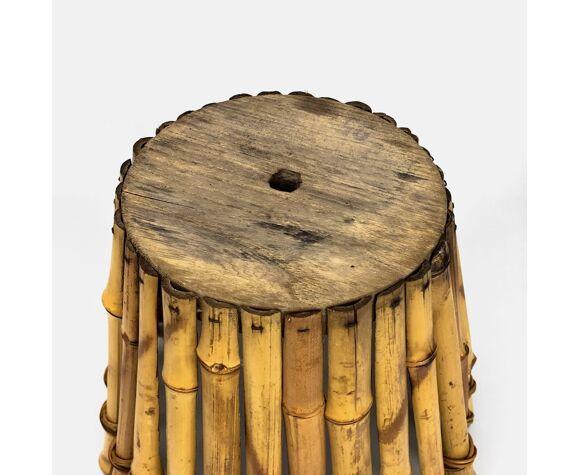 Cache-pot rétro en bambou et rotin
