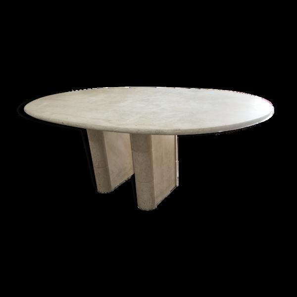 Table ovale en travertin Roche Bobois