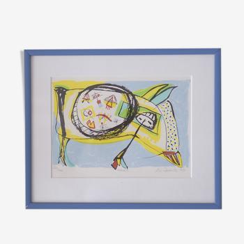 Maskot, Lithographie en couleur par Lis Zwick, 1996