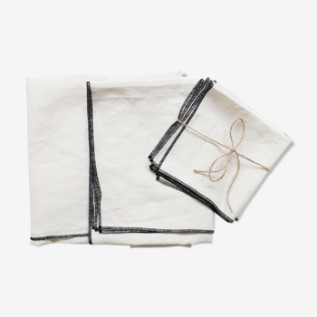White linen tablecloth and towels