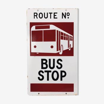 Plaque émaillée double face d'arrêt de bus Australien 1960