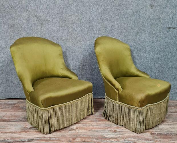 Pair of armchairs or toad drivers Napoleon III era around 1850-1880