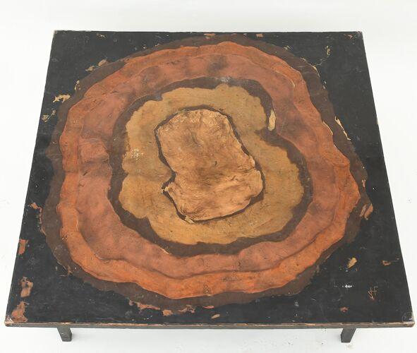 Table basse en métal façon tronc d'arbre