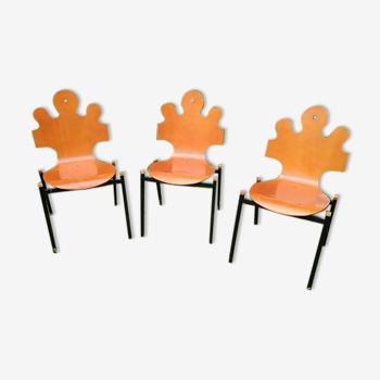 Lot de 3 chaises puzzle