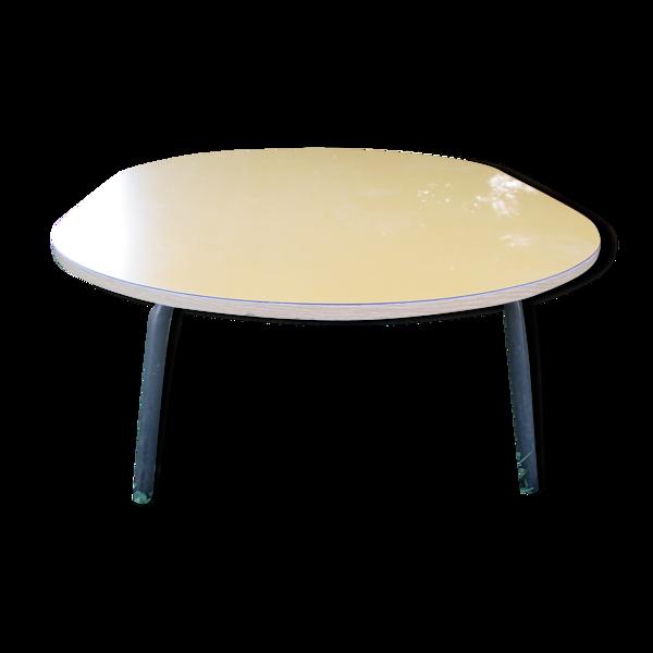 Grande table basse ovale formica jaune des années 1960'S