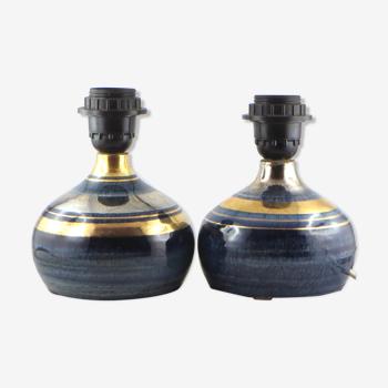 2 pieds de lampe céramique george pelletier vintage vallauris 50/capron