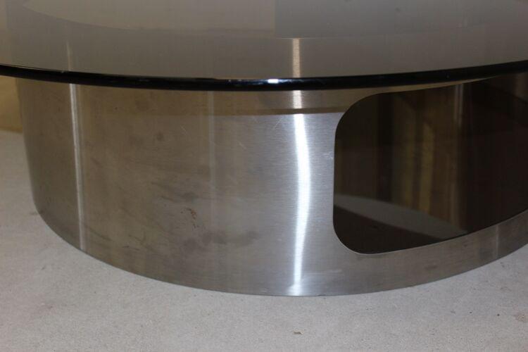 Table basse en inox brossé et verre fumé vers 1970